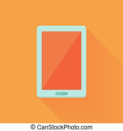Flat tablet pc icon over orange