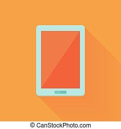 Flat tablet pc icon over orange