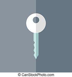 Flat white mint key icon over blue