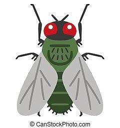 Illustration of Flies on white background.