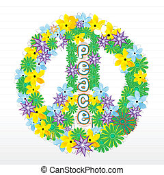 floral peace sign - illustration of floral peace sign