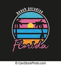 Illustration of florida beach paradise for surf