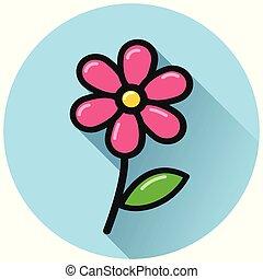 flower circle flat blue icon