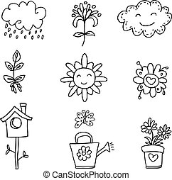 Illustration of flower doodles set