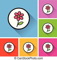 flower icons with long shadow
