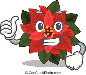 Illustration of flower poinsettia while making Thumbs up gesture