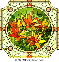 Illustration of flower red lilies. - Vector mosaic with...