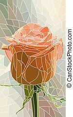 Illustration of flower red rose. - Vector vertical mosaic...