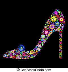 Illustration of flower shoe on black background