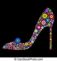 shoe on black background - Illustration of flower shoe on...