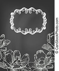 Illustration of flowers and frame on chalkboard.