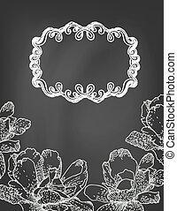 Illustration of flowers and frame on chalkboard.