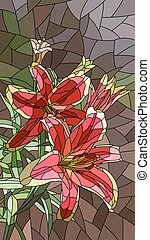 Illustration of flowers pink lily. - Vector vertical mosaic...