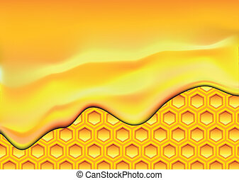 honeycomb - illustration of flowing honey over a honeycomb ...