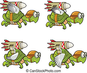 Flying Turtle with Rocket Sprite - Illustration of Flying...