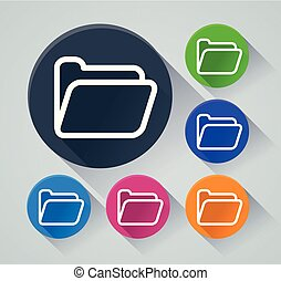 folder circle icons with shadow