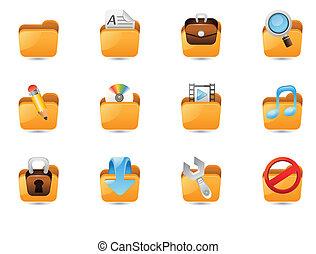 Illustration Of Folder Icon Set For Web Designing