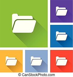 folder icons with long shadow