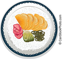 illustration of food and a dish on a white background