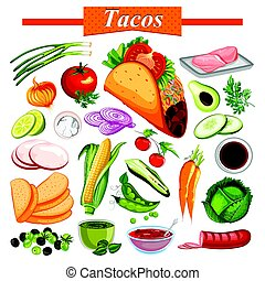 Food and Spice ingredient for Mexican snack Tacos