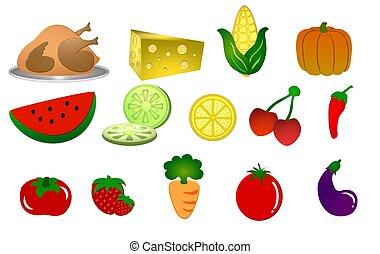 illustration of food symbols on white background