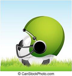 football with helmet on grass