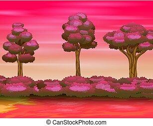 Illustration of forest landscape on the pink sky