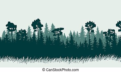 Illustration of forest with grass.