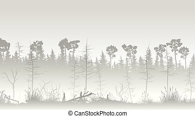 Illustration of forest with grass swamp and deadwood.