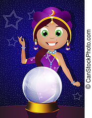 fortune teller with crystal ball - illustration of fortune ...