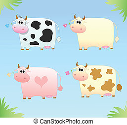 four colored cow