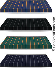 awning - illustration of four different color vector awnings...