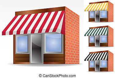 four different color vector awnings - illustration of four ...