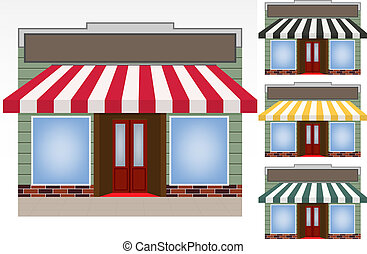 illustration of four different color vector awnings