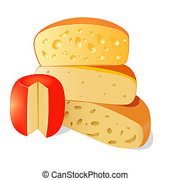 of four different types of cheese on a white background