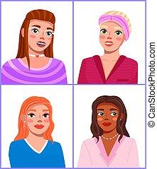 Illustration of four fashion girls. Stylish makeup, ...