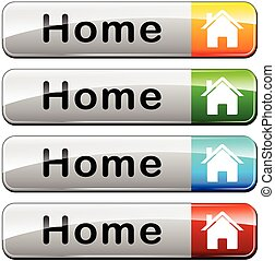 illustration of four home buttons on white background