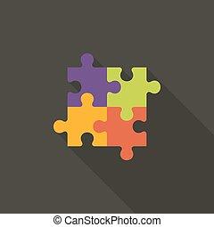 Four Puzzle Flat Icon over Dark