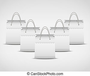 illustration of four white shopping bag