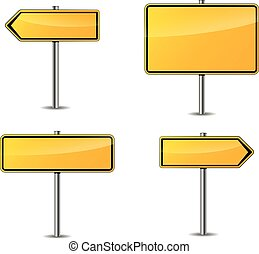 four yellow blank signs - Illustration of four yellow blank...