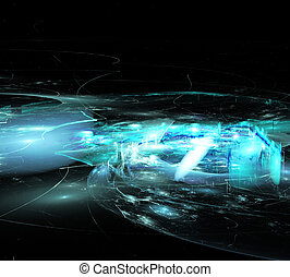 illustration of fractal abstraction background blur ghost town