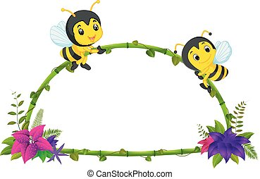 frame of bamboo and bee