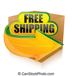 free shipping - illustration of free shipping on white...