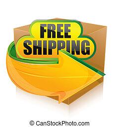 illustration of free shipping on white background