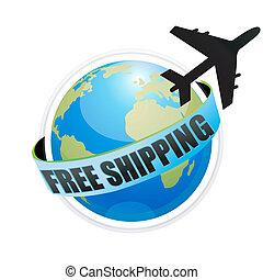 illustration of free shipping with aeroplane around the globe