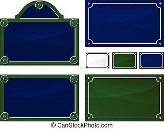 illustration of french blank parisian plates set