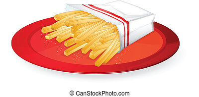 french fries - illustration of french fries in red dish on...