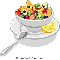 fresh fruit salad - illustration of fresh fruit salad with...