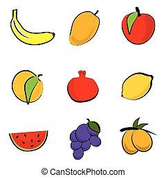 fresh fruits - illustration of fresh fruits on white...