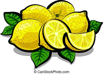 illustration of fresh juicy lemons with leaves